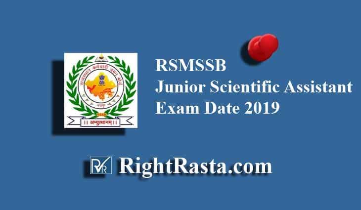 RSMSSB Junior Scientific Assistant Exam Date