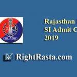 Rajasthan Police SI PET Admit Card 2019