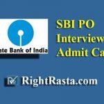 SBI PO Interview Admit Card 2019