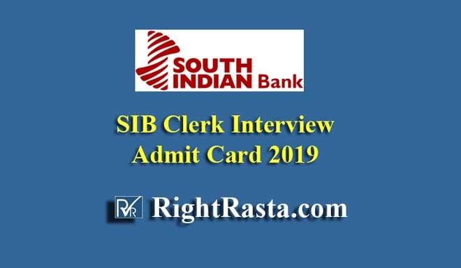 SIB Clerk Interview Admit Card 2019