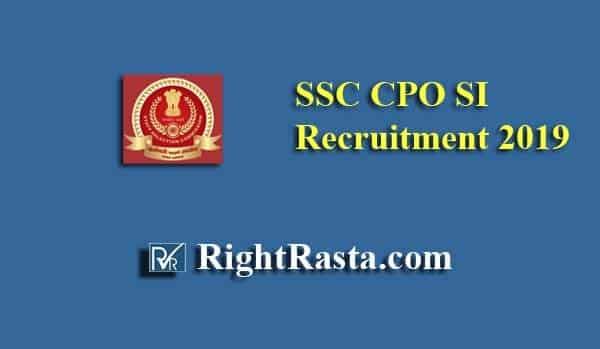 SSC CPO SI Recruitment 2019