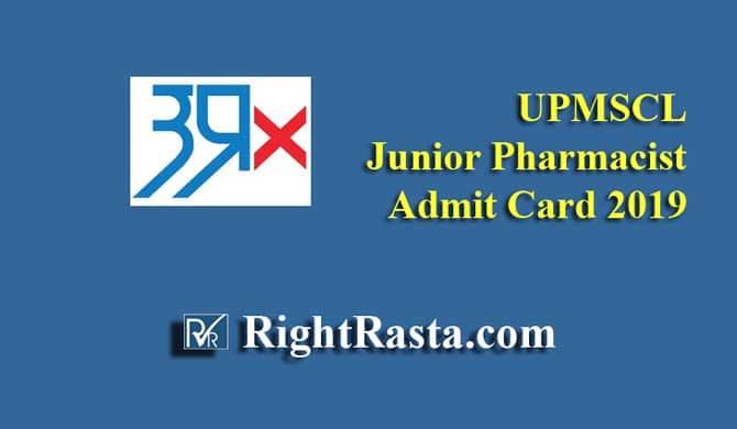 UPMSCL Junior Pharmacist Admit Card 2019
