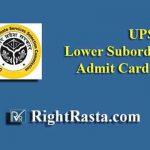 UPSSSC Lower Subordinate Admit Card 2019