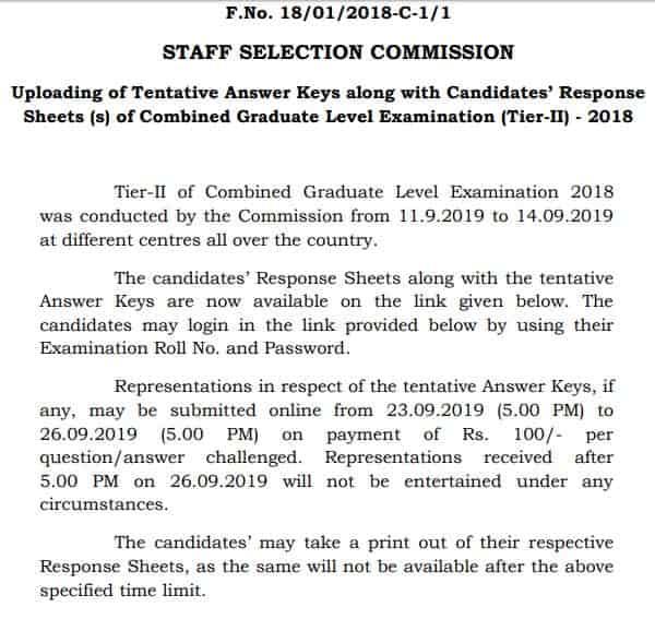 cgl 2018 answer key notice