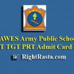 AWES Army Public School PGT TGT PRT Admit Card 2019