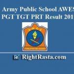 Army Public School AWES APS CSB PGT TGT PRT Result 2019