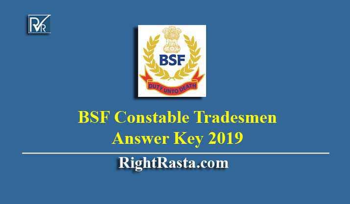 BSF Constable Tradesmen Answer Key