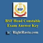 BSF Head Constable HC Exam Answer Key Download 2019 PDF RO RM