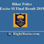 Bihar Police Excise SI Final Result 2019
