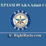 DRDO CEPTAM 09 A&A Admit Card 2019