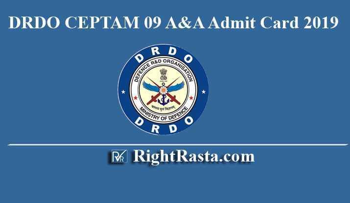 DRDO CEPTAM 09 A&A Admit Card