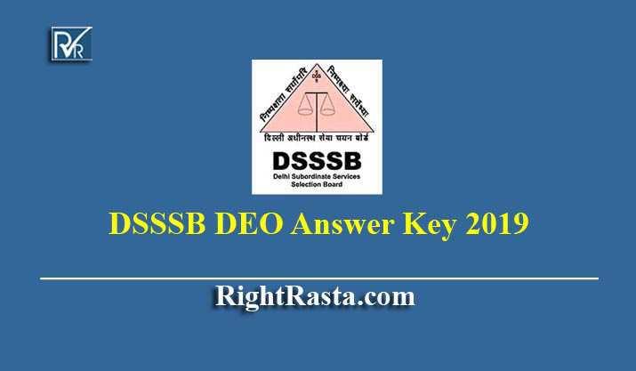 DSSSB DEO Answer Key