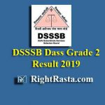 DSSSB Dass Grade 2 Result 2019