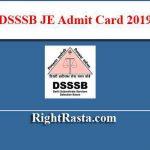 DSSSB JE Admit Card 2019