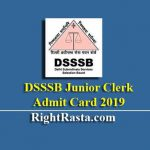 DSSSB Junior Clerk Admit Card 2019