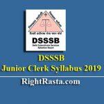 DSSSB Junior Clerk Syllabus 2019