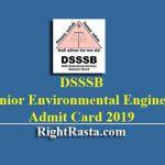 DSSSB Junior Environmental Engineer Admit Card 2019