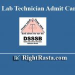 DSSSB Lab Technician Admit Card 2019
