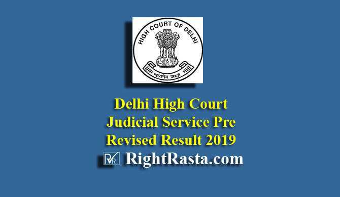 Delhi High Court Judicial Service Pre Revised Result 2019