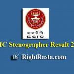 ESIC Stenographer Result 2019