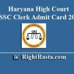 Haryana High Court SSSC Clerk Admit Card 2019