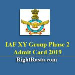 IAF XY Group Phase 2 Admit Card 2019