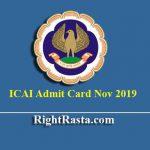 ICAI Admit Card Nov 2019