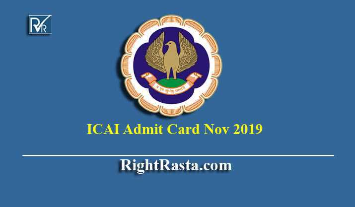 ICAI Admit Card Nov 2019 for CA Final IPCC