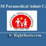 MP NHM Paramedical Admit Card 2019