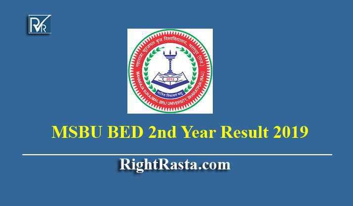 MSBU BED 2nd Year Result