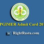 PGIMER Admit Card 2019 (Attendant, Tutor/Clinical Instructor, Lab Technician, Hospital Attendant)