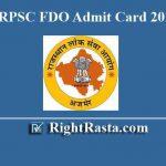 RPSC FDO Admit Card 2019
