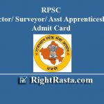 RPSC Instructor/ Surveyor/ Asst Apprenticeship Ad Admit Card 2018-19
