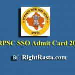 RPSC SSO Admit Card 2019