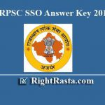 RPSC SSO Answer Key 2019