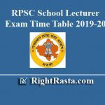 RPSC School Lecturer Exam Time Table 2019-20