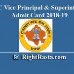 RPSC Vice Principal & Superintendent Admit Card 2018-19