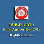RRB JE CBT 2 Final Answer Key 2019 | Released