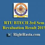 RTU BTECH 3rd Sem Revaluation Result 2019