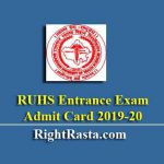 RUHS Entrance Exam Admit Card 2019-20