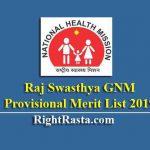 Raj Swasthya GNM ProvisionalMerit List 2019