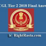 SSC CGL Tier 2 2018 Final Answer Key