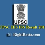 UPSC IES ISS Result 2019