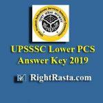 UPSSSC Lower PCS Answer Key 2019