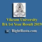 Vikram University BA 1st Year Result 2019
