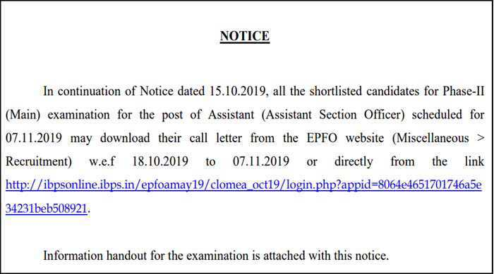 epfo assistant mains exam date