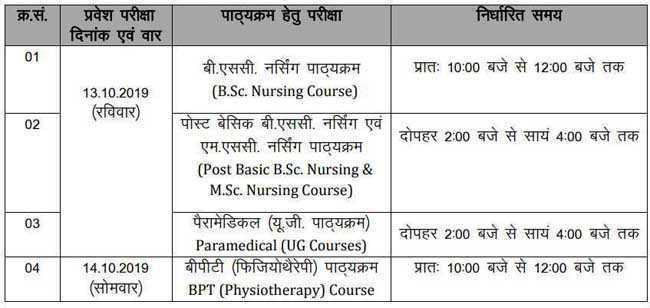 ruhs entrance exam date 2019-20