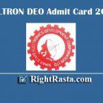 BELTRON DEO Admit Card 2019