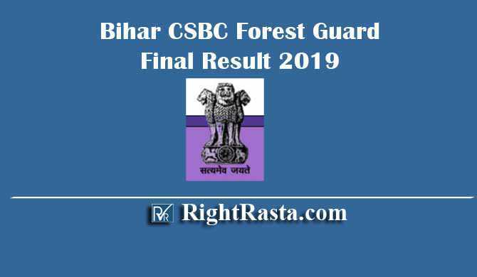 Bihar CSBC Forest Guard Final Result 2019