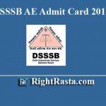 DSSSB AE Admit Card 2019